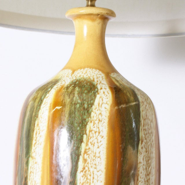 Pair of Yellow and Green Ceramic Drip Glaze Lamps, C. 1970 For Sale In Dallas - Image 6 of 8
