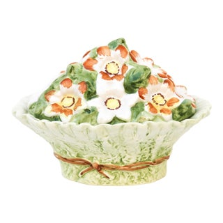 Vintage Italian Oval Lidded Floral Bowl For Sale