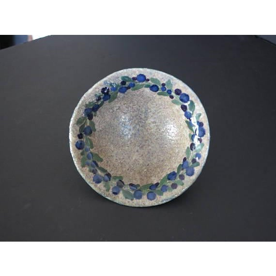 Josef Ekberg for Gustavsberg Ceramic Pottery Blueberry Bowl Fully Signed and Dated 1916 For Sale - Image 5 of 6