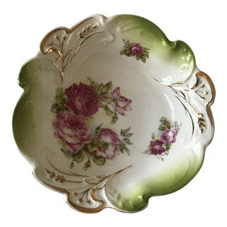Antique Hand Painted Bowl With Roses and Gold Trim For Sale