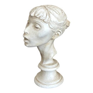 Vintage Plaster Bust of a Young Woman For Sale