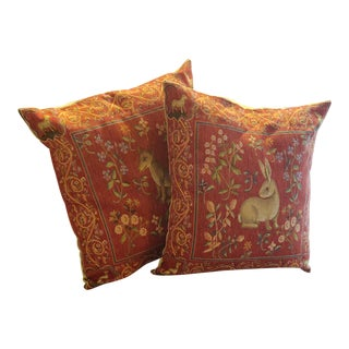 Scully & Scully Medieval Animal Tapestry Pillows- a Pair For Sale