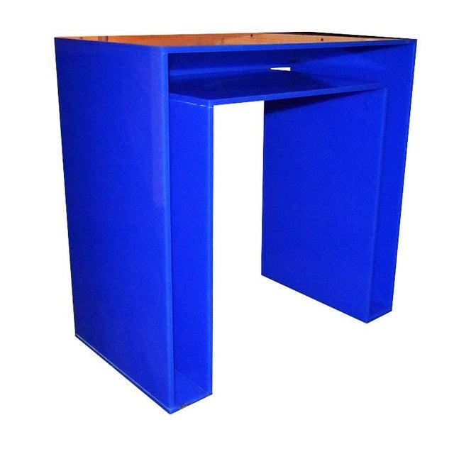 Memphis Style Blue Acrylic Desk For Sale - Image 6 of 7
