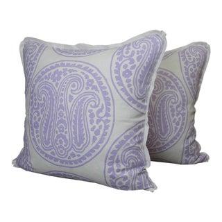 Raoul Textiles Mira Linen Print Lilac Throw Pillows - a Pair For Sale