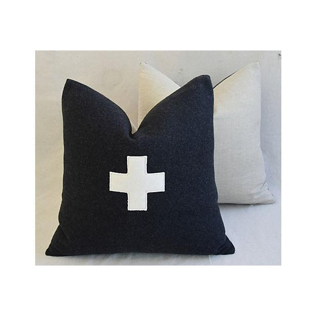"White 22"" Custom Tailored Charcoal Appliqué Cross Wool Feather/Down Pillows - a Pair For Sale - Image 8 of 12"