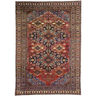 Early 20th Century Antique Russian Caucasian Area Rug - 8′1″ × 11′5″ For Sale