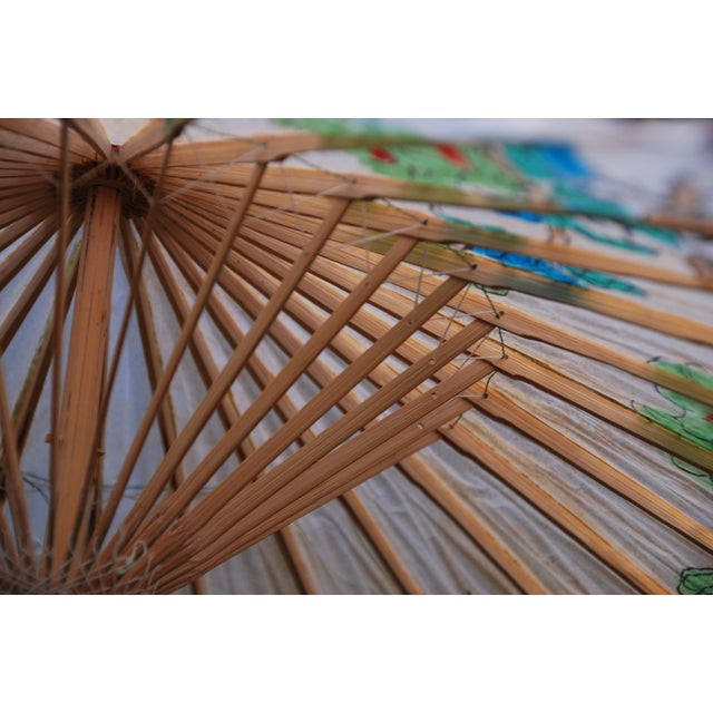 Vintage Asian Rice Paper Umbrella - Image 7 of 8