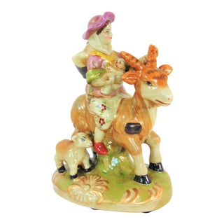 English Staffordshire Pottery Woman on Goat Figurine For Sale