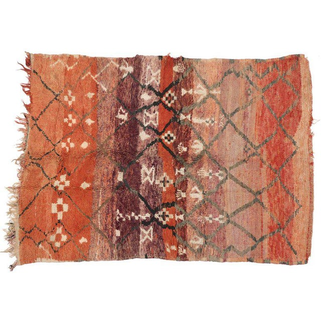 Berber Tribes of Morocco Vintage Berber Moroccan Rug with Modern Tribal Style For Sale - Image 4 of 5