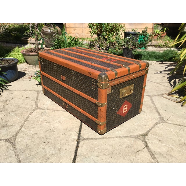 Traditional 1930s Traditional Goyard Steamer Trunk For Sale - Image 3 of 13