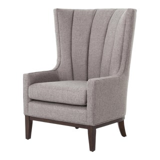 Transitional Cueca Pewter Wingback Chair For Sale