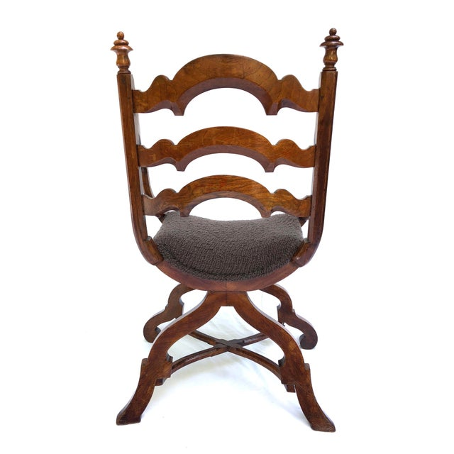 20th Century Italian Cross Base Neoclassical Wood Armchair For Sale - Image 4 of 11
