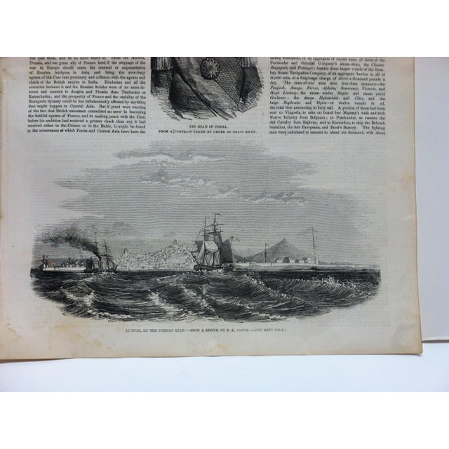 """English 1856 Antique Illustrated London News """"Bushire on the Persian Gulf"""" Print For Sale - Image 3 of 6"""