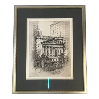 "1925 ""New York Stock Exchange"" Architectural Original Signed Etching by Anton Schütz, Framed For Sale"