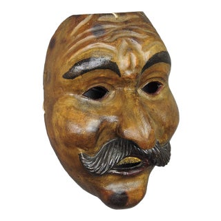 A Great Antique Carved Tyrolian Carnival Fasnet Mask Ca. 1930 For Sale