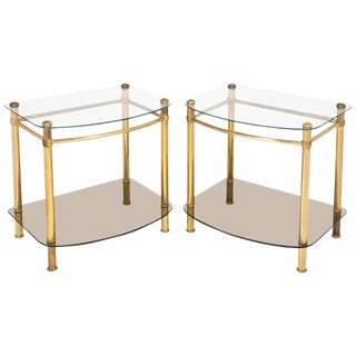Vintage Brass and Glass Side Tables - a Pair For Sale