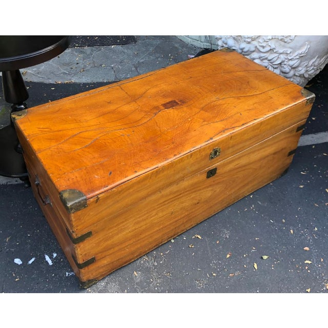 Mid 19th Century Antique 19th C Chinese Camphor Chest Trunk or Side Table For Sale - Image 5 of 7