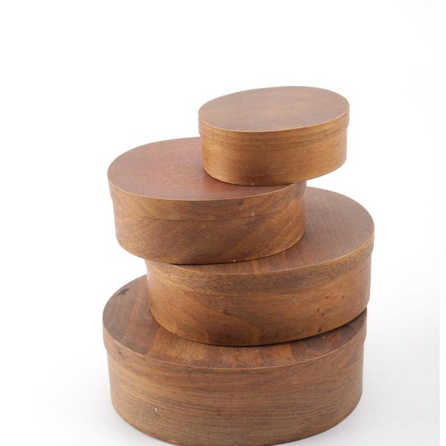 Brown Wooden Nesting Shaker Style Storage Boxes - Set of 4 For Sale - Image 8 of 8