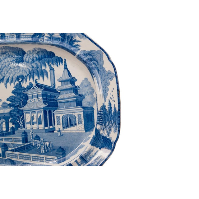 Large 1820s Chinese Blue and White Porcelain Platter For Sale - Image 4 of 8