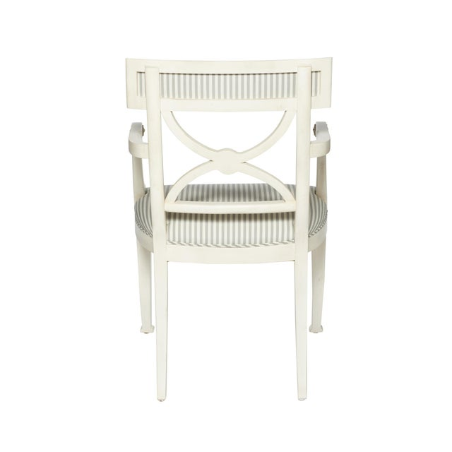 Contemporary Schumacher Westminster Brigitte Stripe Grey Hand-Carved Beechwood Frame Armchair For Sale - Image 3 of 9