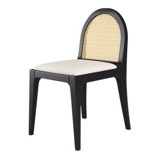 Juliette Dining Chair - Black Iron, Optic White Linen For Sale