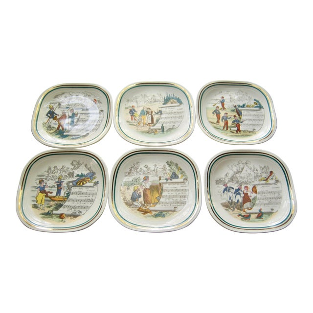 Vintage French Opera Plates With Different Scores & Scenes - Set of 6 For Sale