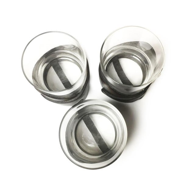 Mid-Century Modern Vintage Leather Wrapped Drinking Glasses- Set of 3 For Sale - Image 3 of 3