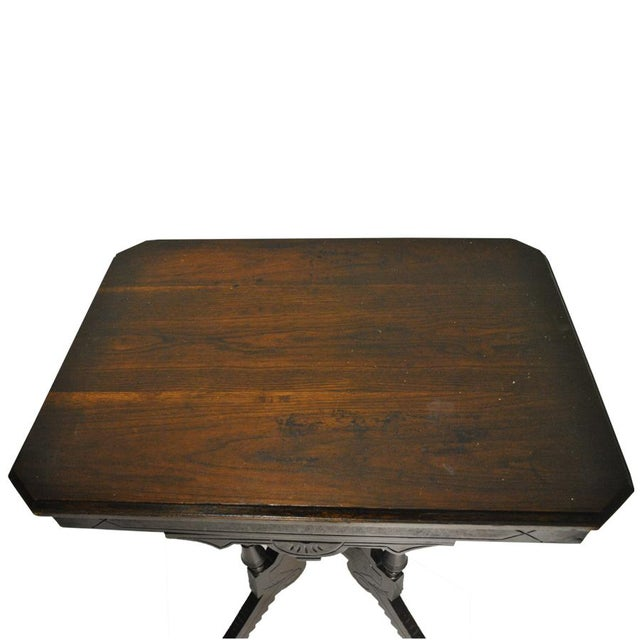Exceptional Antique Eastlake Victorian Heavily Carved Walnut Parlor Side Table - Image 7 of 9