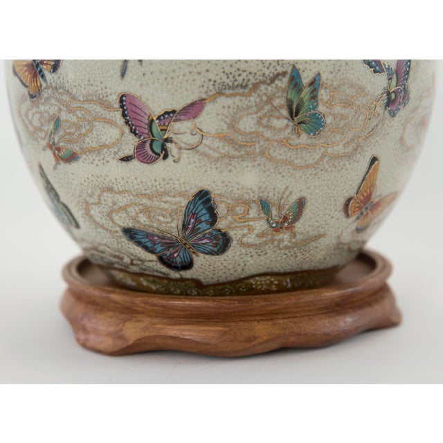 Japanese Satsuma Butterfly Ginger Jar on Stand For Sale - Image 10 of 11