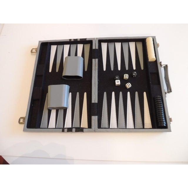 1980s Vintage Grey and Black Backgammon Game Case For Sale - Image 5 of 5
