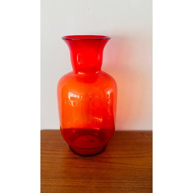 Blenko Tangerine Orange Floor Vase Scarce Oversized - # 7048 For Sale In Palm Springs - Image 6 of 13