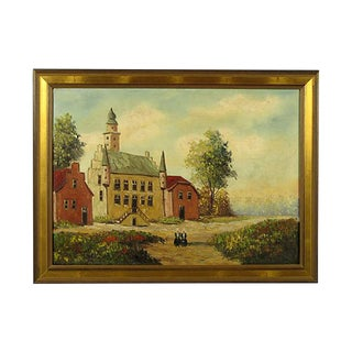 'Dutch Town Hall' Impressionist Painting For Sale