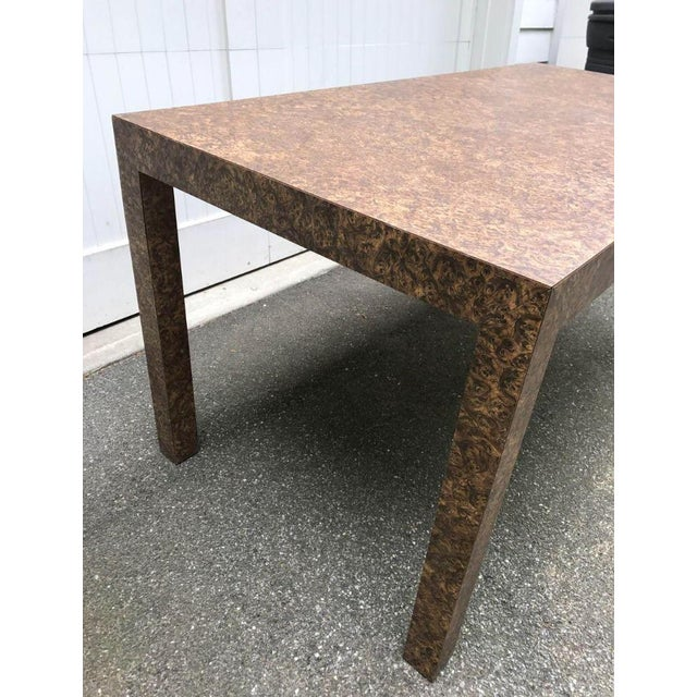 Vintage Burl Wood Laminate Parsons Style Dining Table For Sale - Image 4 of 9