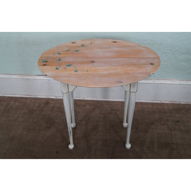 Country Hand Painted Andrea Davinci Braun Side Table For Sale - Image 3 of 10