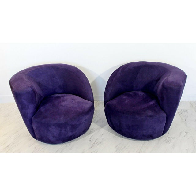 Textile 1980s Vintage Contemporary Vladimir Kagan Corkscrew Swivel Chairs- A Pair For Sale - Image 7 of 9