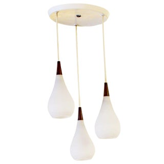 1960's Mid-Century Modern Scandinavian 3 Headed Glass Hanging Light Fixture