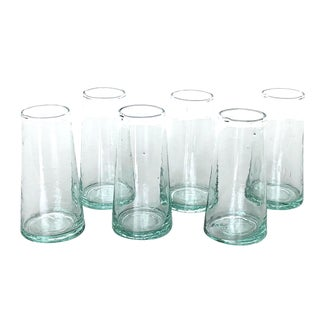 Moroccan Champagne Blown Recycled Glass - Set of 6 For Sale