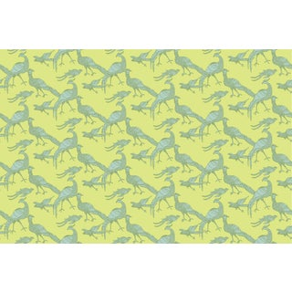 Plume Sunny Lime Linen Cotton Fabric, 3 Yards For Sale