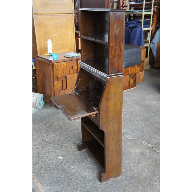 Mid 20th Century Antique Country Walnut Primitive Secretary Desk For Sale - Image 5 of 13
