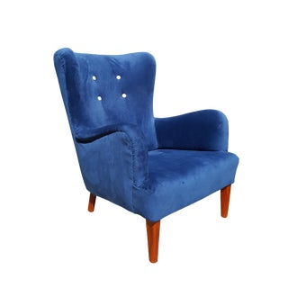 1940s Vintage Flemming Lassen by Iversen Danish Style Wingback Chair For Sale