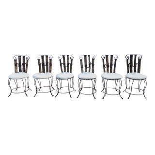 Western Style Set of Six Horse Shoe Metal and Wood Dining Chairs For Sale