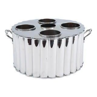 Silver Plate Four Bottles Holder Barware / Tableware With Handles For Sale