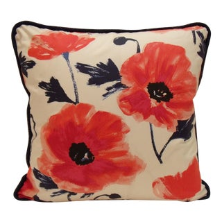 Kate Spade Floral Amapola Pillow in Maraschino For Sale