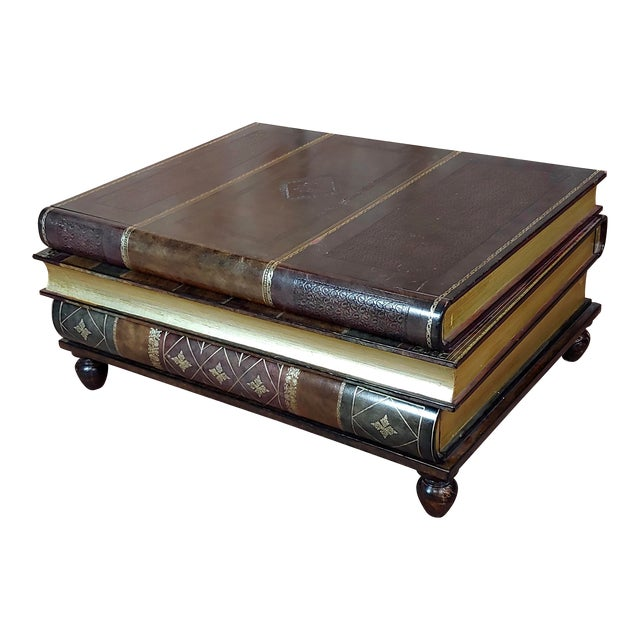 Maitland-Smith Stacked Leather Books Form Coffee Table For Sale