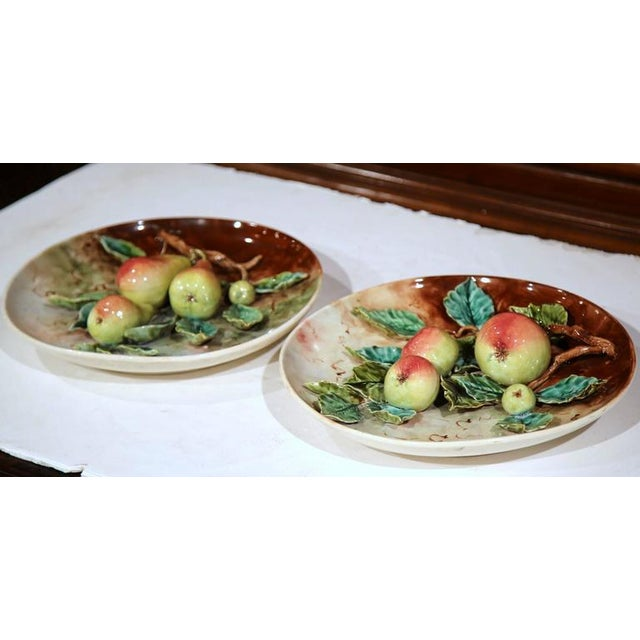 19th Century French Hand-Painted Barbotine Plates With Apples and Pears - a Pair For Sale - Image 9 of 10