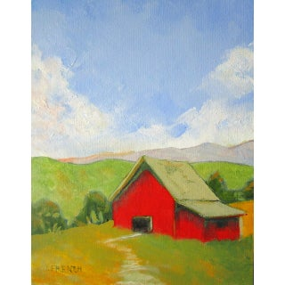 California Landscape Red Barn Farm Painting For Sale