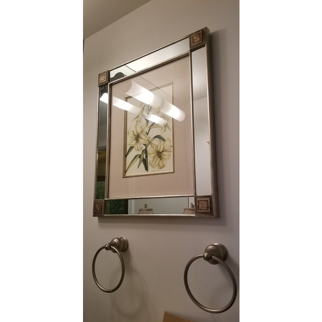 Tan Mirror With Framed Botanical Print For Sale - Image 8 of 11