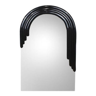 "Tall Arched Banded Black Art Deco ""Monarch"" Mirror by Vanguard Studios For Sale"