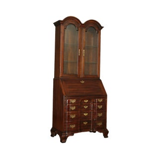 Chippendale Style Solid Cherry Double Bonnet Top Secretary Desk For Sale