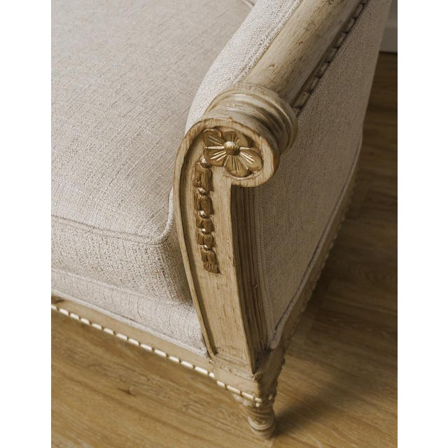 Early 20th Century Antique French Provincial Linen Cabriole Sofa With Pillows For Sale - Image 5 of 10